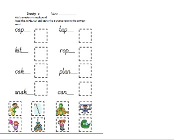 Sneaky e phonics worksheet and game
