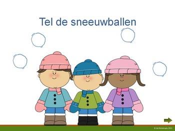 Sneeuwballen tellen op het digibord