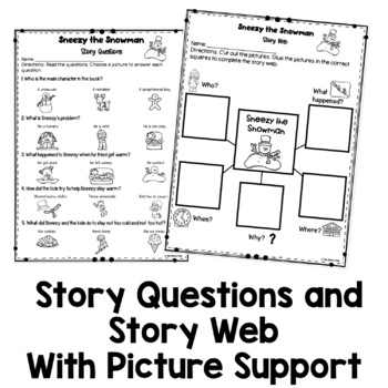Sneezy the Snowman Book Companion   Winter Story Retelling and Questions