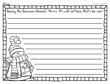 Sneezy the Snowman Writing Activity *FREEBIE*
