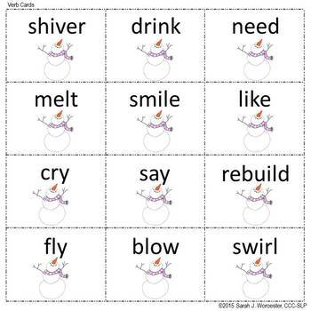 Sneezy the Snowman Verb Tense Activity Freebie