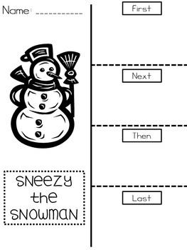 Sneezy the Snowman Sequencing Foldable