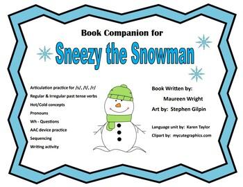 Sneezy the Snowman, Winter, Speech/Language unit, AAC activity
