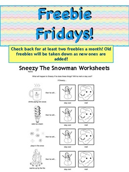 Sneezy the Snowman Worksheets