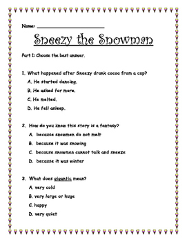 Sneezy the Snowman by Maureen Wright Extension/Comprehension Packet