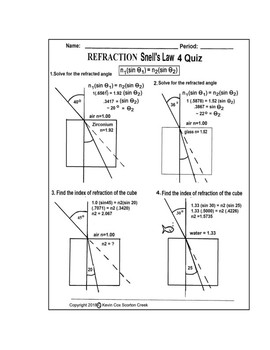 Snell's Law 4 Quiz Refraction - Mixed: 1 Find angle of ref 2: Find index of ref