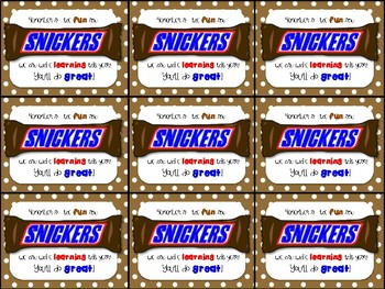 Snickers Testing Motivation Treat Tags