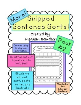 Cut and Glue Sentences with Sight Words Pack #2