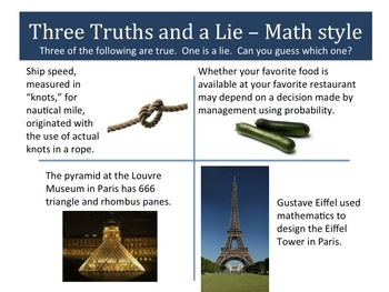 Snippet:  Three Truths and a Lie Math Style - Scenarios 5 to 8