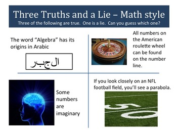 Snippet: Three Truths and a Lie - Math Style - Scenarios 9 to 12