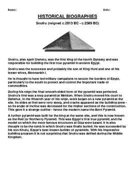 Snofru Biography Article and (3) Assignments