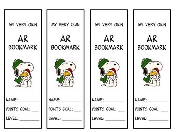 Snoopy AR Bookmarks (Accelerated Reader)