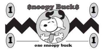 Snoopy Bucks classroom money
