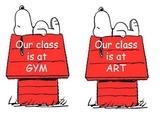 Snoopy Classroom Building location signs 2