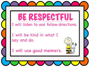 Snoopy Classroom Rules Posters