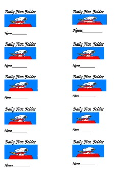 Snoopy Daily Five Labels