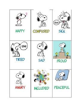 Snoopy Feeling Cards By Mr Cs First Grade Fun Tpt