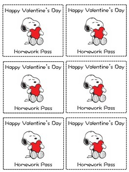 Snoopy Homework Passes (The Whole Year!)