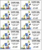 Snoopy II Teacher business cards Editable