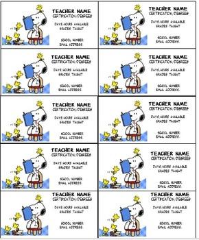 Snoopy II Teacher business cards Editable