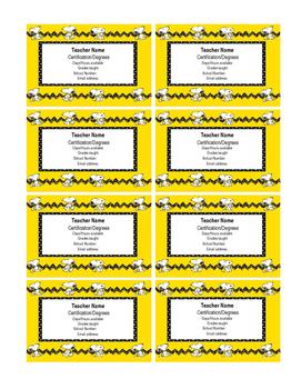 Snoopy III Teacher business cards Editable