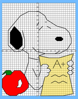 Back to School Fun Coordinate Grid Graphing - 2 Versions, 1st Quadrant or all 4