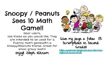 Snoopy Sees 10 Mental Math Making 10 Game
