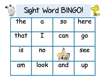 Snoopy Themed Beginning Sight Word BINGO with Fry words