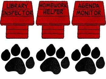 Snoopy Themed Classroom Jobs