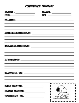 Snoopy Themed Conference Forms