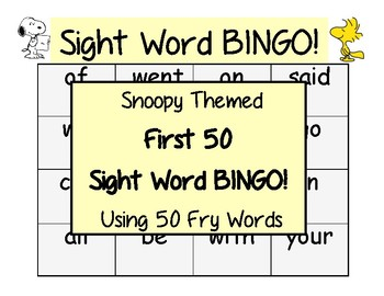 Snoopy Themed First 50 Sight Word BINGO with Fry Words
