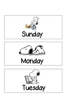 Snoopy Themed Months of Year and Days of the Week labels