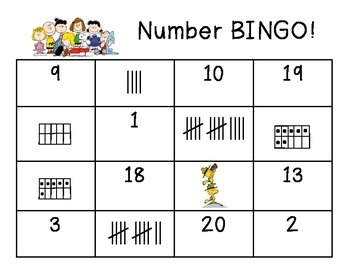 Snoopy Themed Number Bingo 0-20 using tallies, ten frames and numerals
