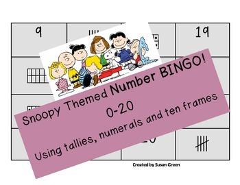 Snoopy Themed Number Bingo 0-20 using tallies, ten frames