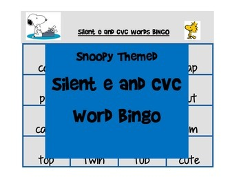 Snoopy Themed silent e and cvc word BINGO