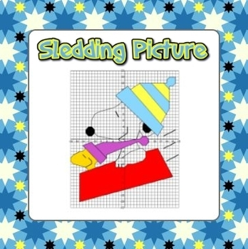 Snoopy Winter Sledding Coordinate Grid Graphing - all 4 Qu