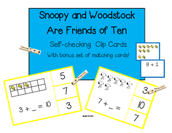 Snoopy & Woodstock Friends of 10 Self-checking Clip Cards