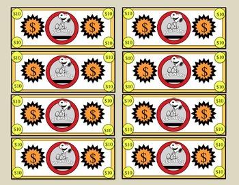 Snoopy colored reward bills