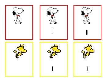 Snoopy's Who Has More?   Compare quantities 0-20 w/numbers, tallies & ten frames