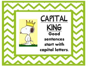 Snoopy theme Sentence Writing reminders