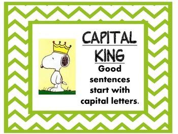 Snoopy theme Sentence Writing reminders