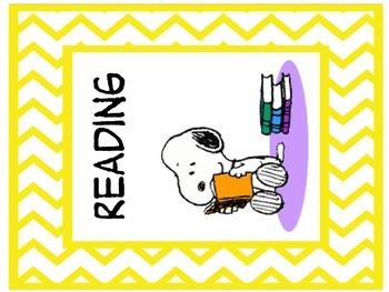 Snoopy theme teacher binder organization labels