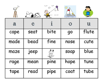 Snoopy themed Long Vowel Bingo
