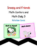 Snoopy themed Math Centers and Math Daily 3 Rotation Cards