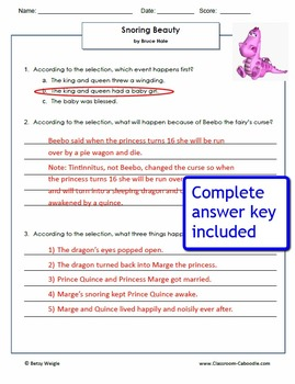 Snoring Beauty Reading Comprehension Worksheets for Grades 3-5