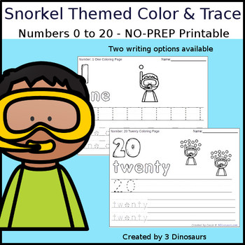 Snorkel Themed Number Color and Trace