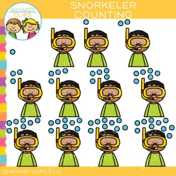 Snorkeler Counting Bubbles Clip Art
