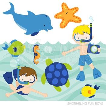 Snorkeling Fun Boys Cute Digital Clipart, Summer Swimming Graphics