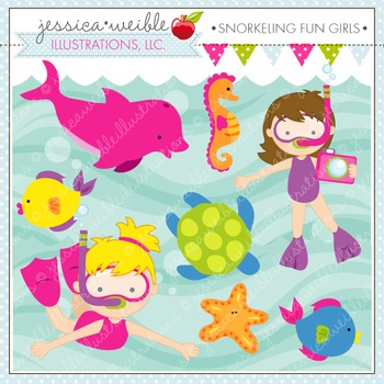 Snorkeling Fun Girls Cute Digital Clipart, Summer Swimming Graphics