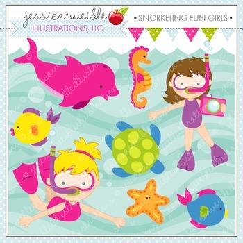Snorkeling Fun Girls Cute Digital Clipart, Summer Swimming